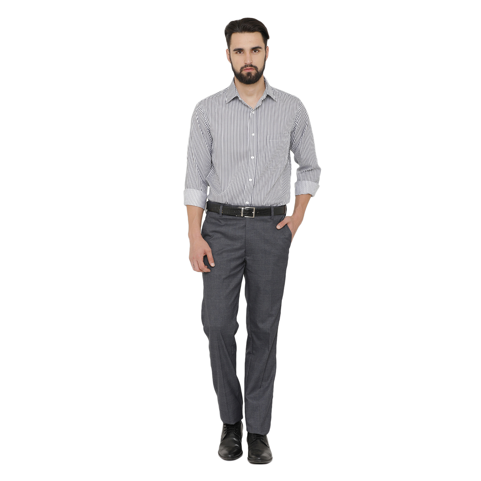 Double TWO Men Grey Flexiwaist Comfort Fit Checked Formal Trousers