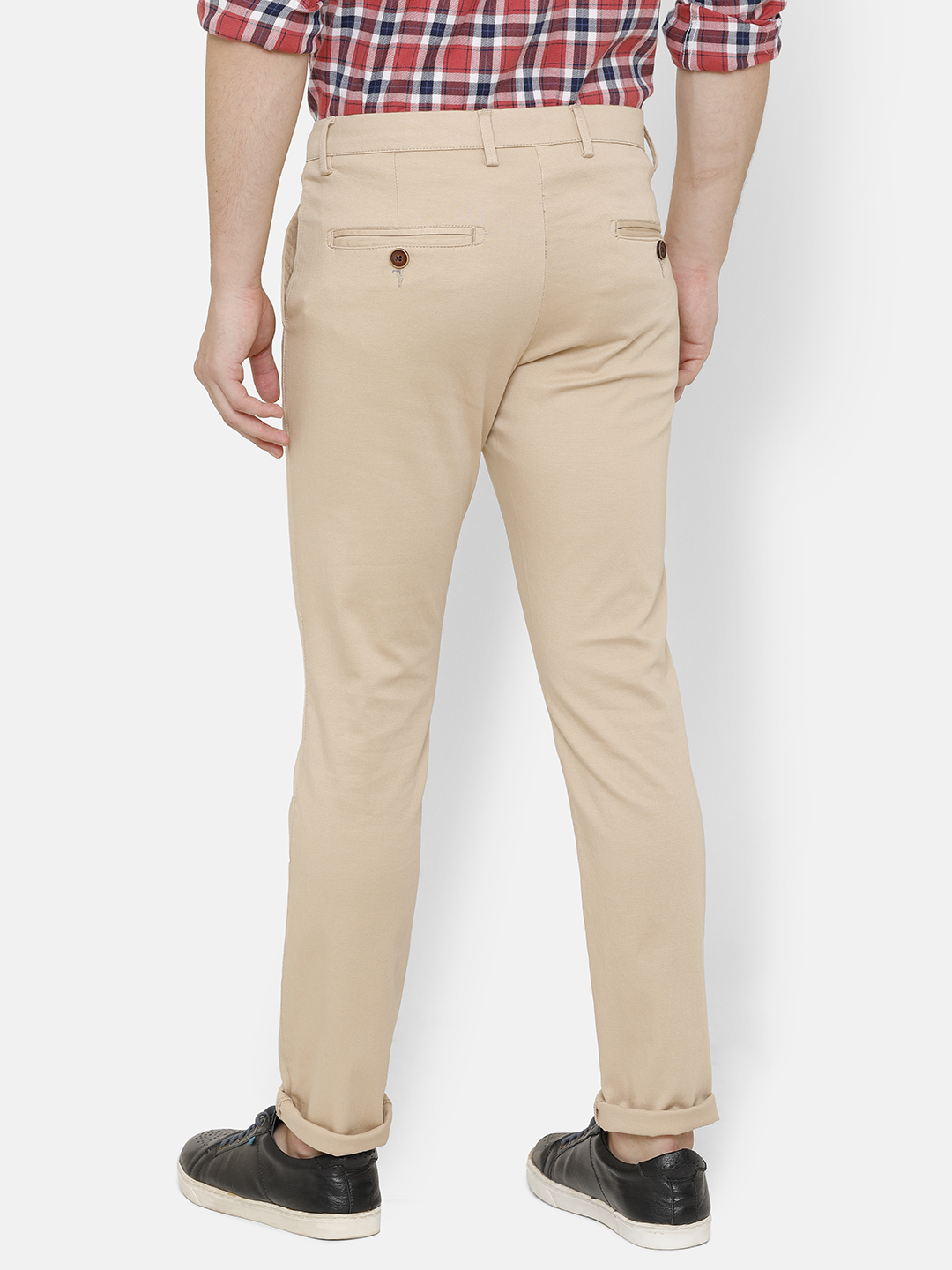 Bar Harbour Men Beige Slim Fit Solid Chino Trousers