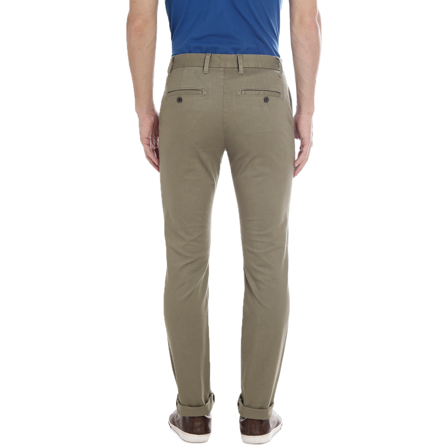 Bar Harbour Light Olive Color Slim Fit Casual Cotton Trousers for Men