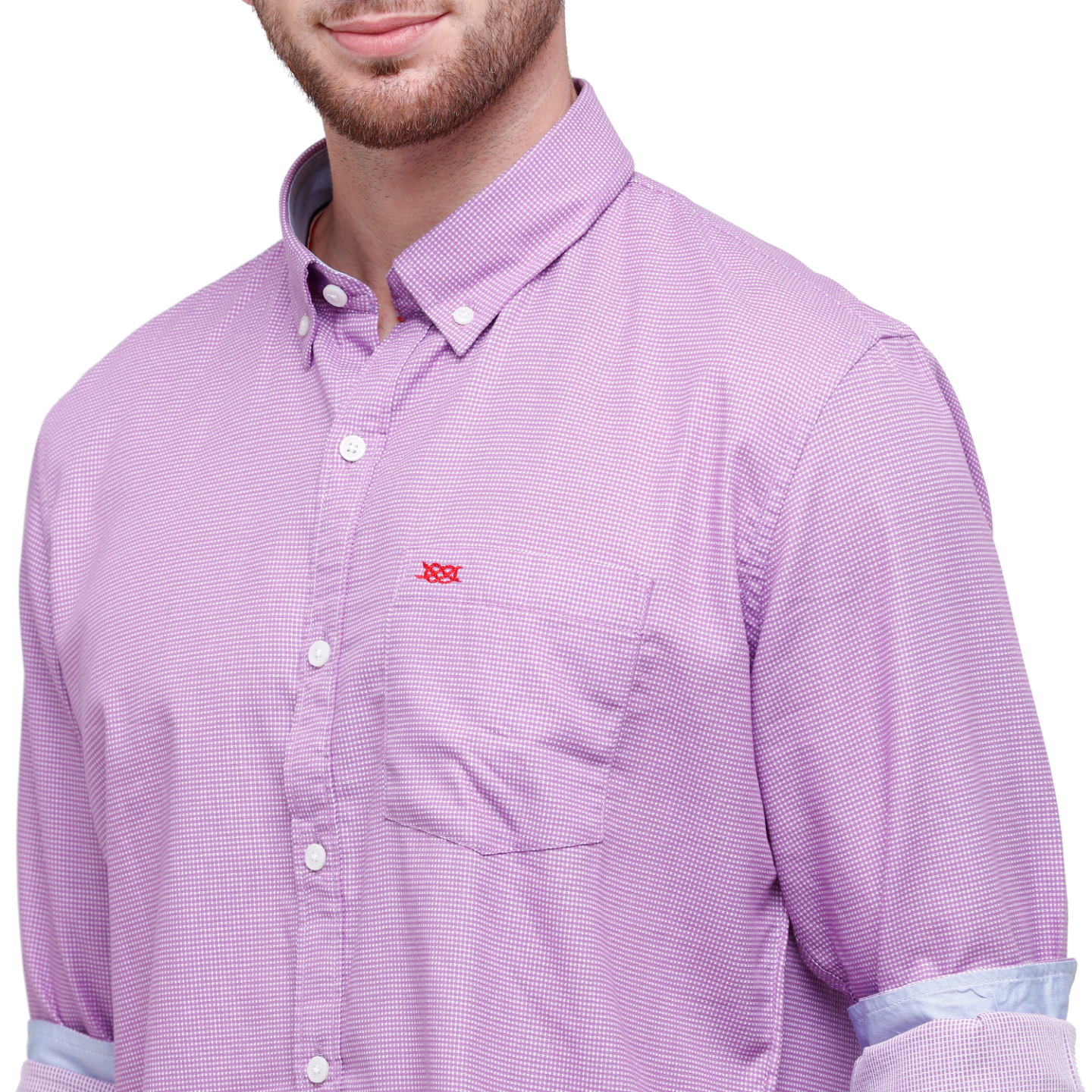 Men Lavender Self Design Slim Fit Casual Shirt