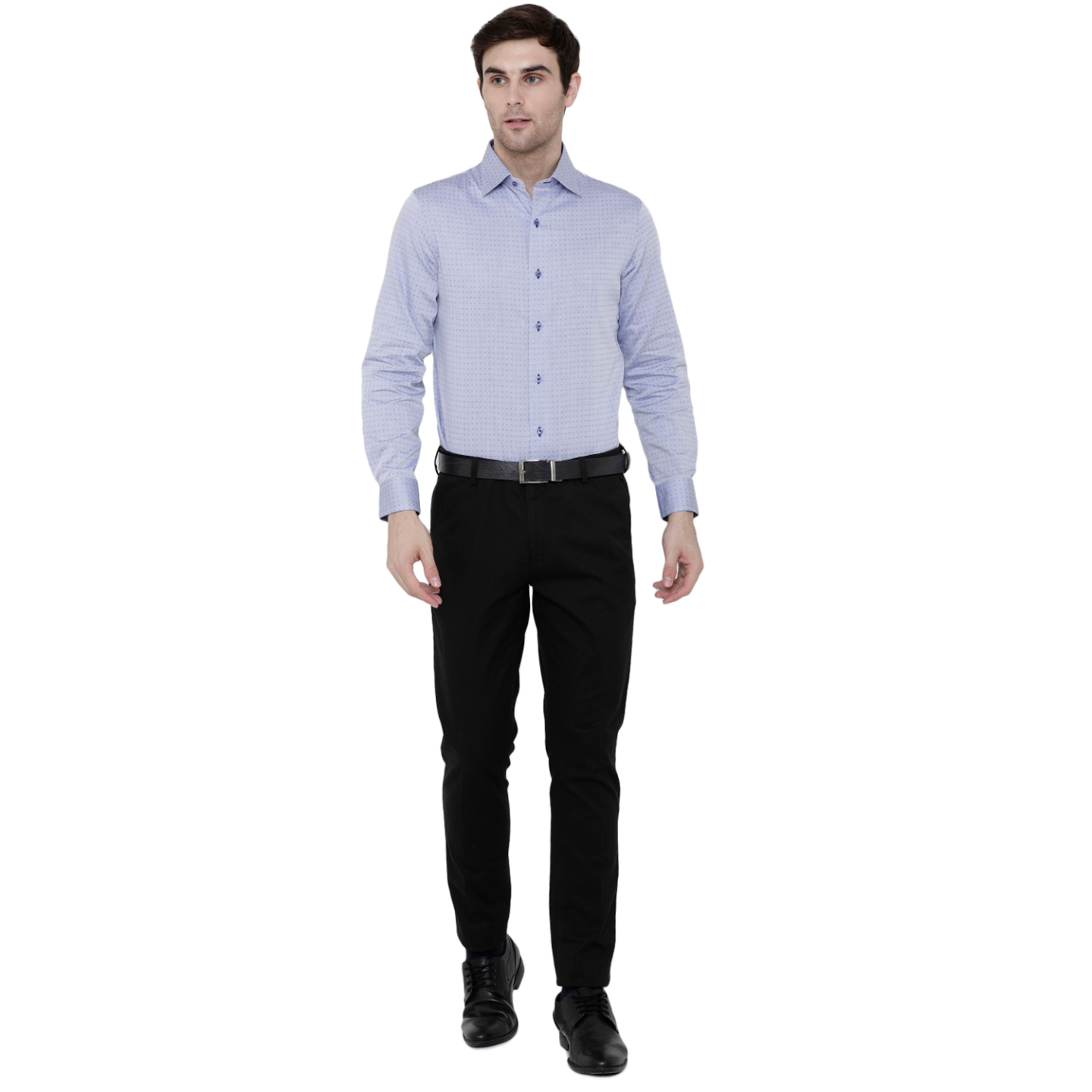 Double TWO Light Blue Dobby Pattern Formal Shirt