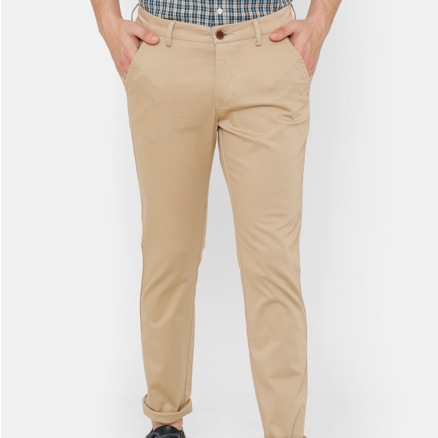 Bar Harbour Men Khaki Slim Fit Solid Chino Trousers