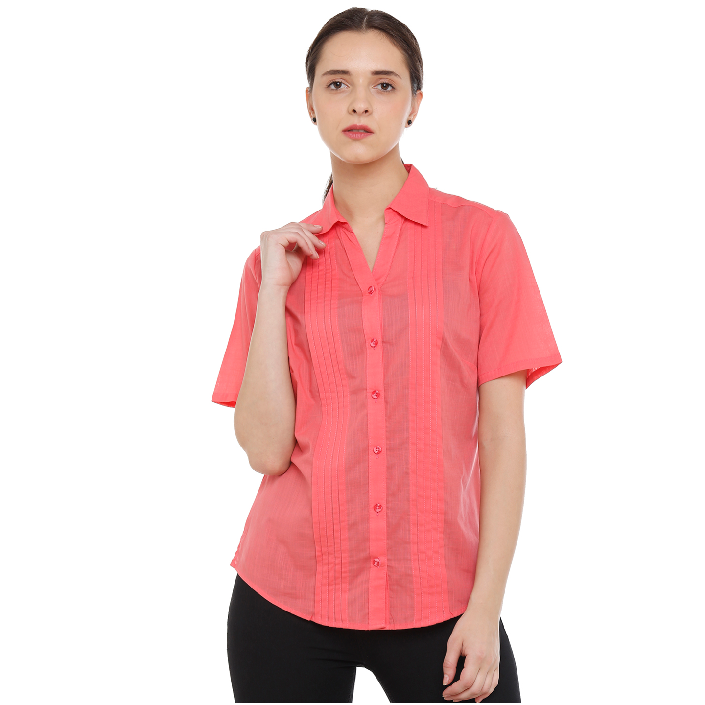 Double TWO Womens Cotton Pleated Pink Shirt