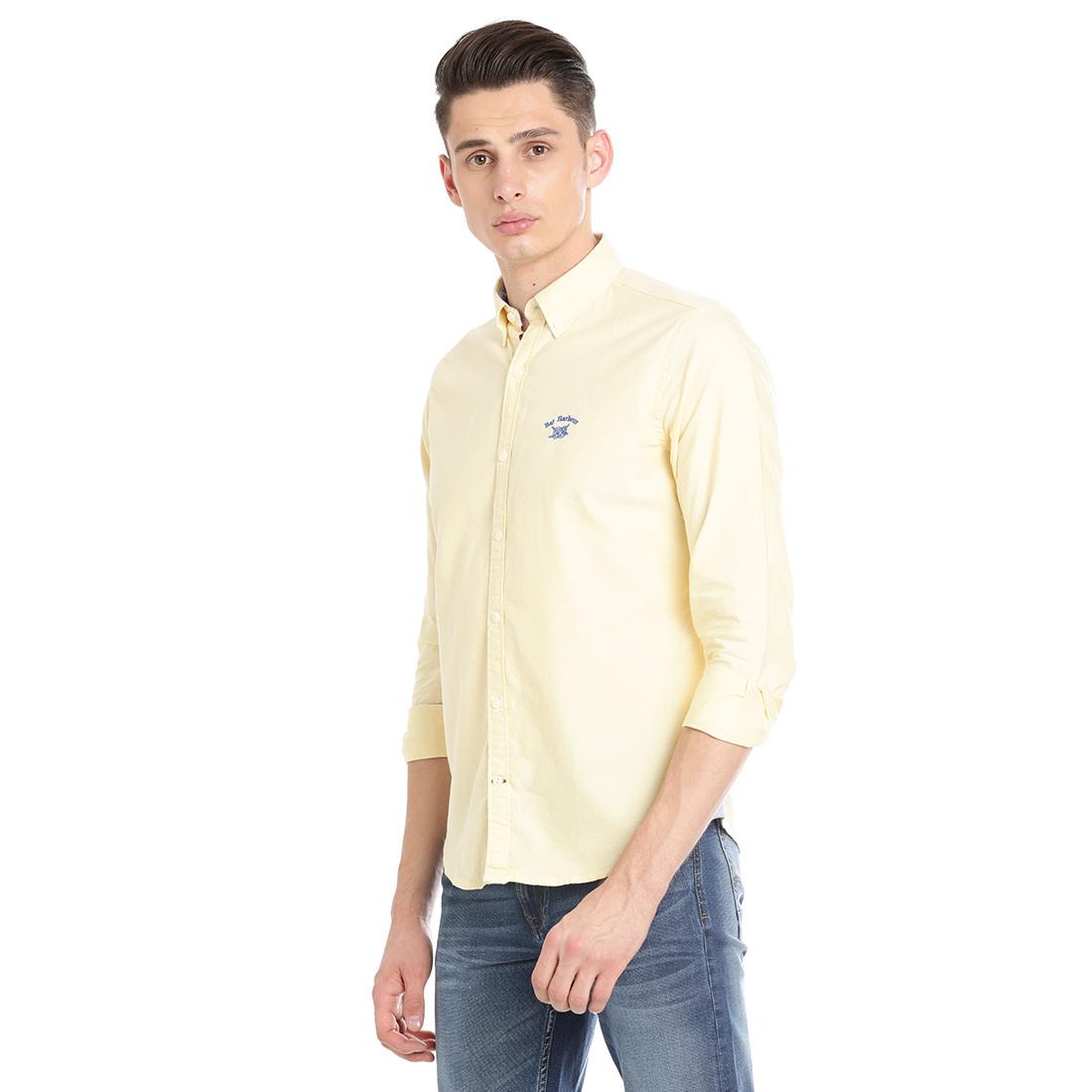 Bar Harbour Men Solid Casual Yellow Shirt