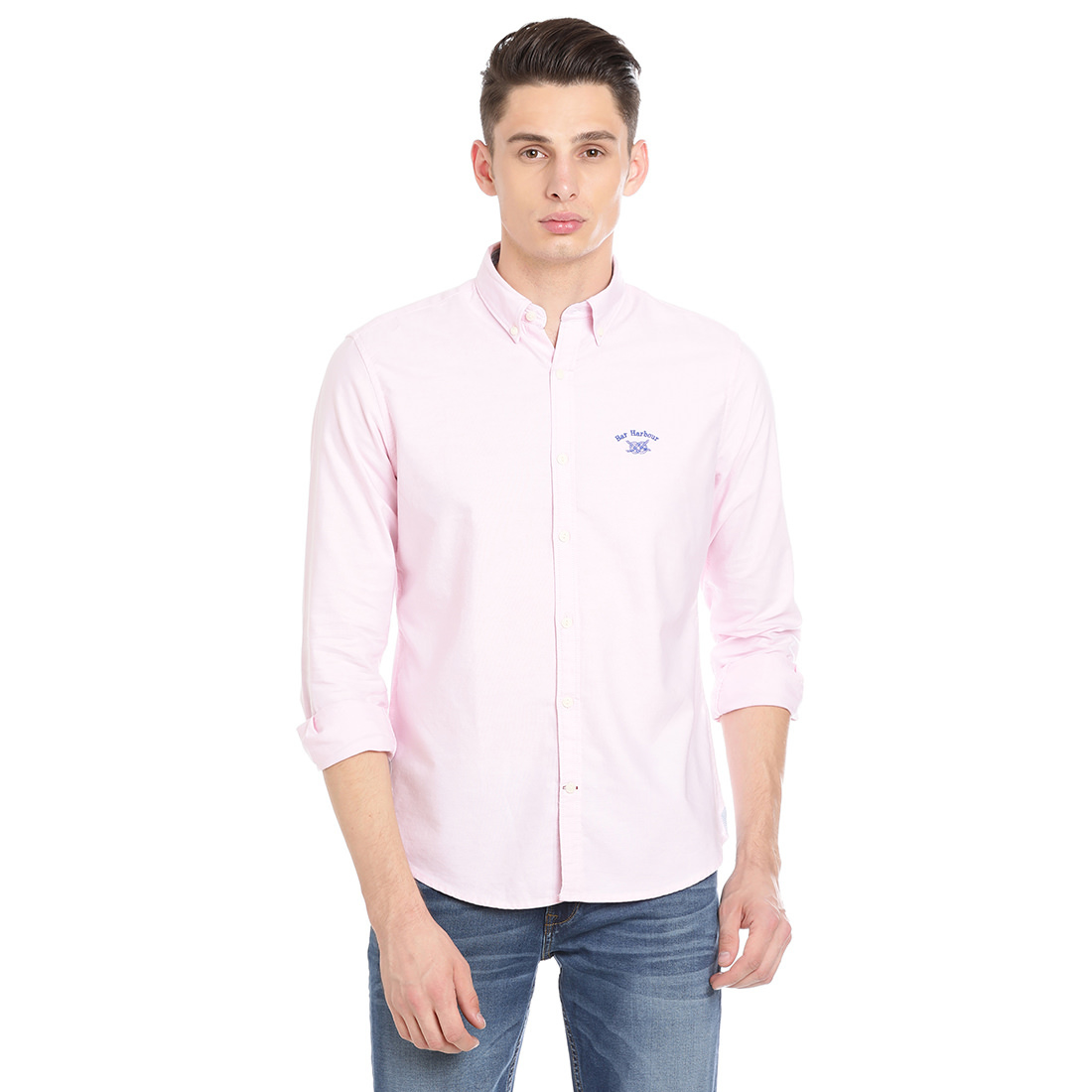 Bar Harbour Men Solid Casual Light Pink Shirt