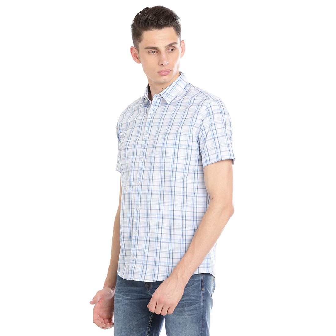 Bar Harbour Men Checkered Casual Blue Shirt