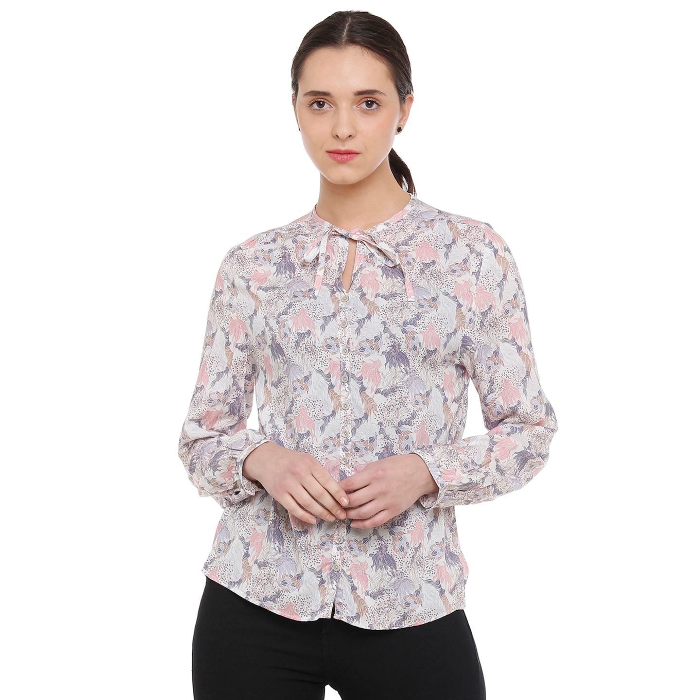 Double TWO Blush and Cream Feather Print Women's Shirt
