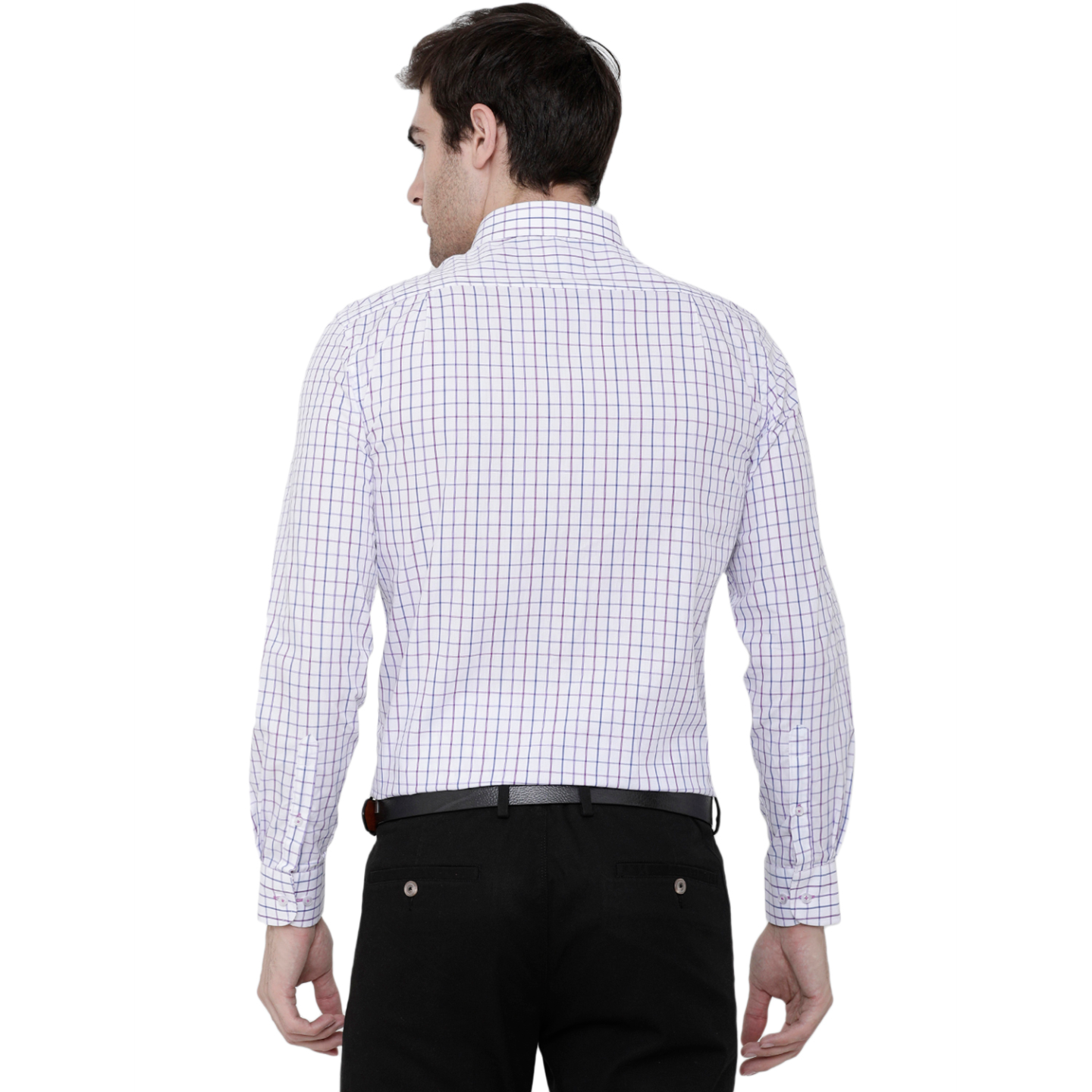 Double TWO Berry Cotton Check Formal Shirt