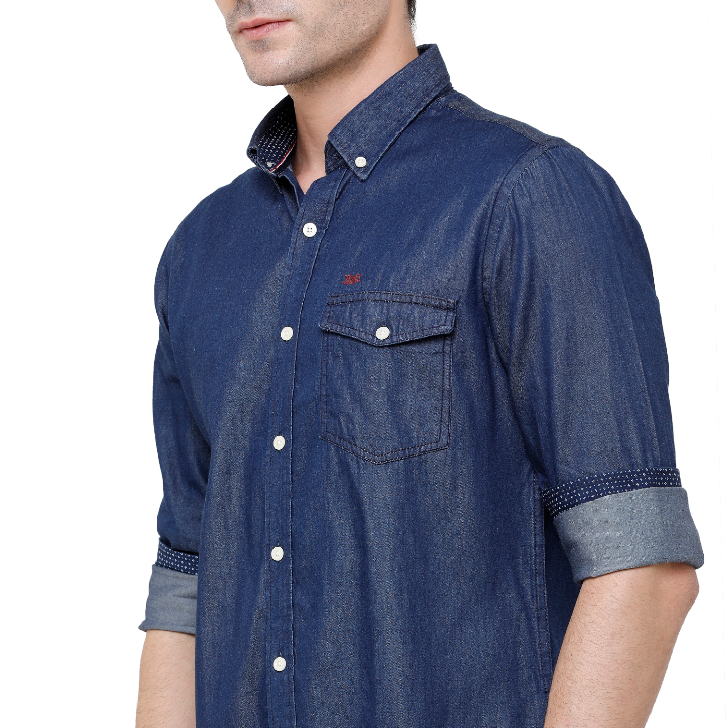 Double Two Mens Long Sleeves 100 Cotton Silky Denim with Single Flap Pockets Shirt Casual Shirt