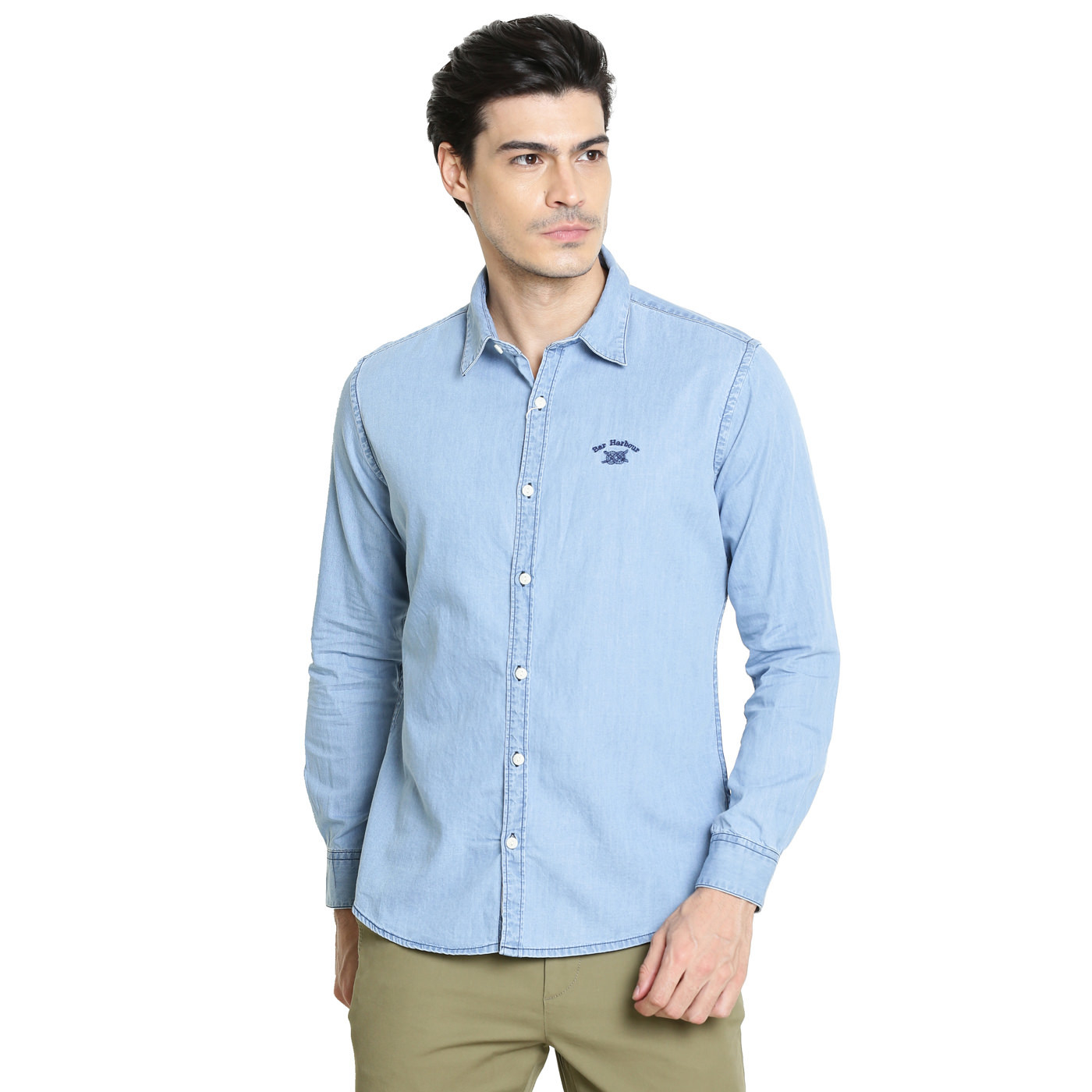 Bar Harbour Men Solid Casual Light Blue Denim Shirt