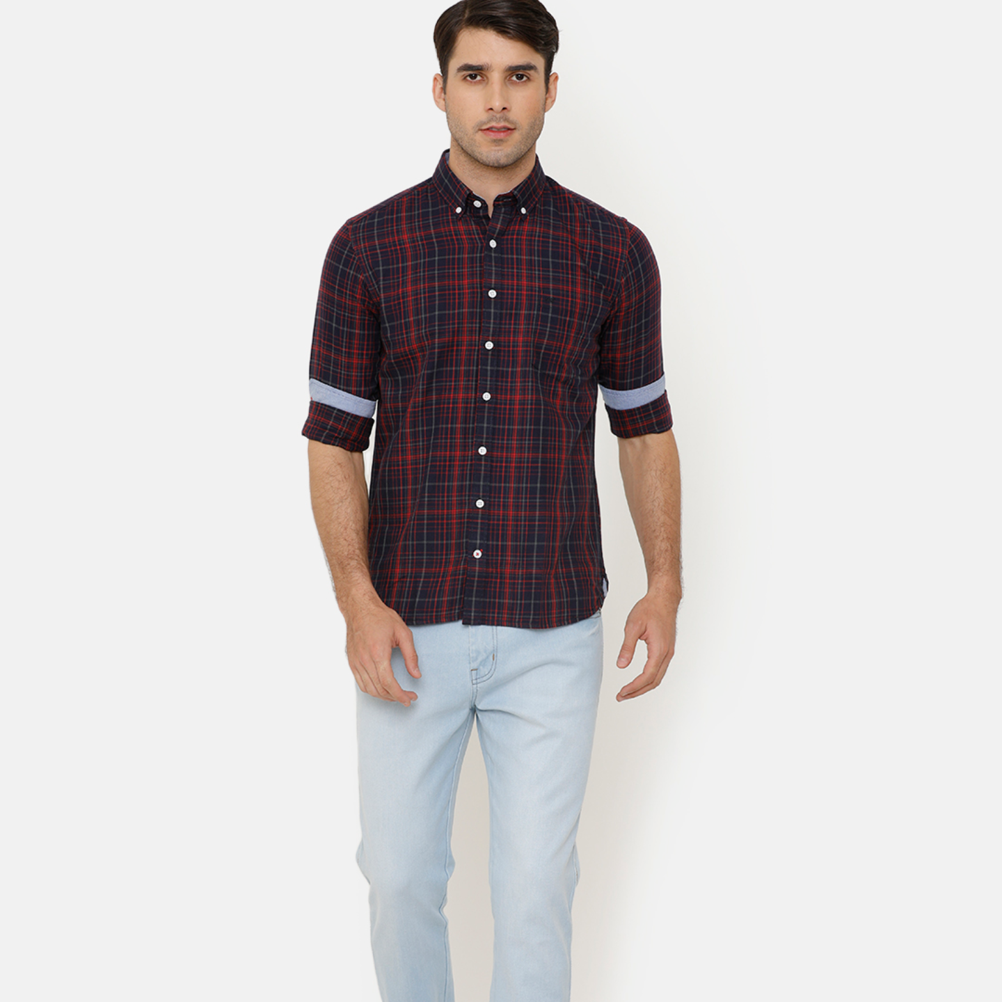 Bar Harbour Men Maroon & Navy Blue Slim Fit Checked Casual Shirt