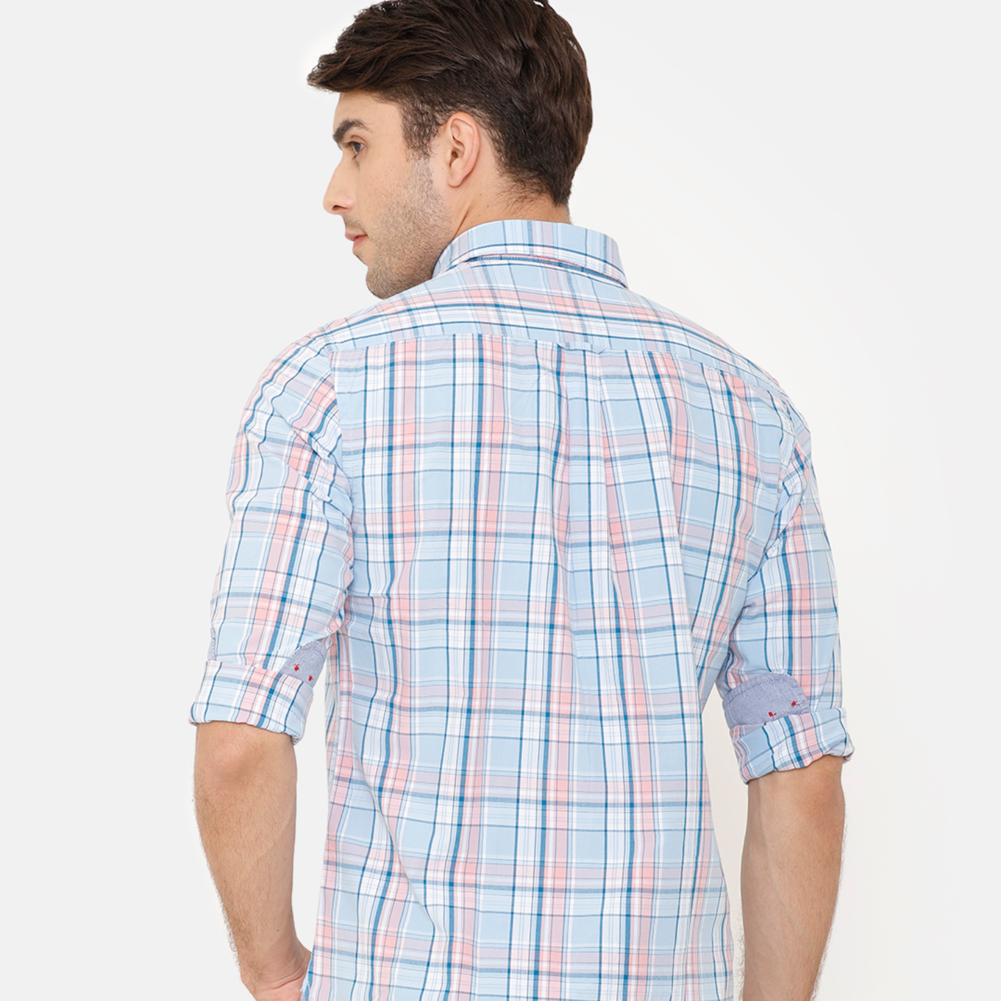 Bar Harbour Men Turquoise Blue Slim Fit Checked Casual Shirt