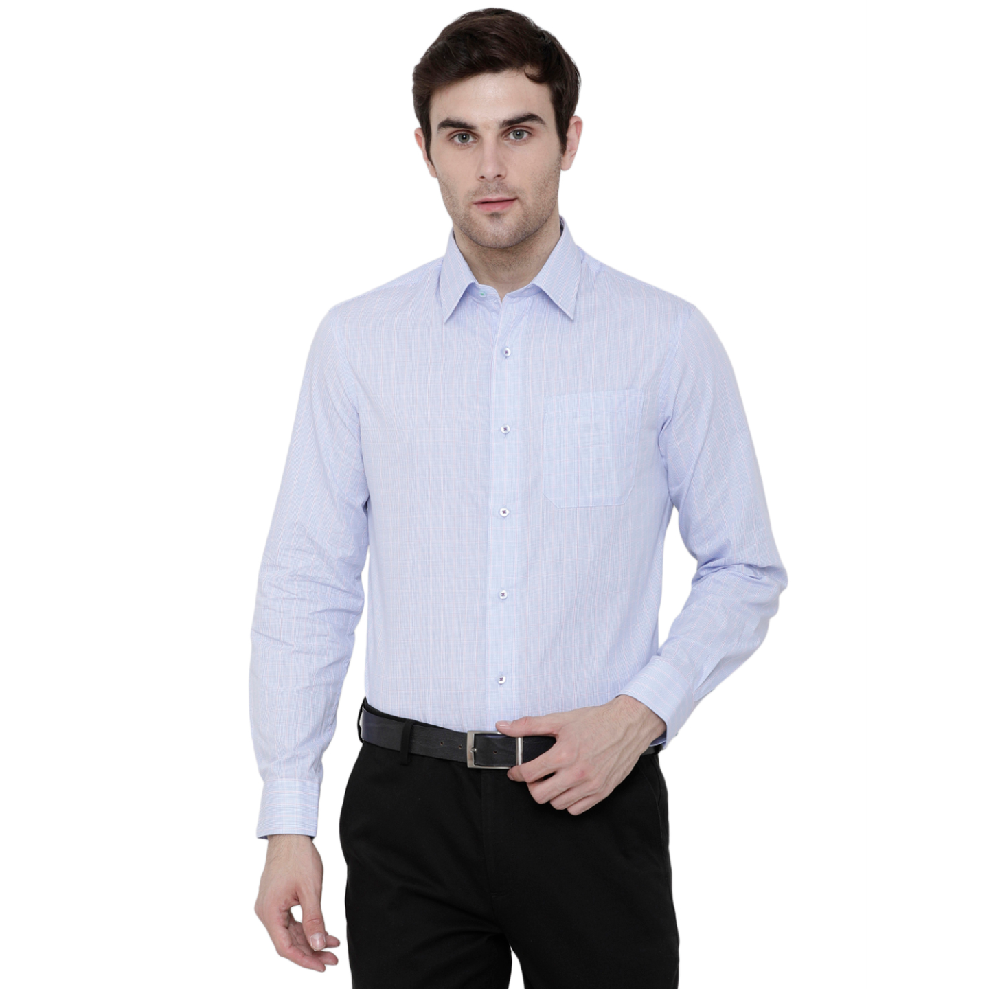 Double TWO Blue & Pink Check Formal Shirt