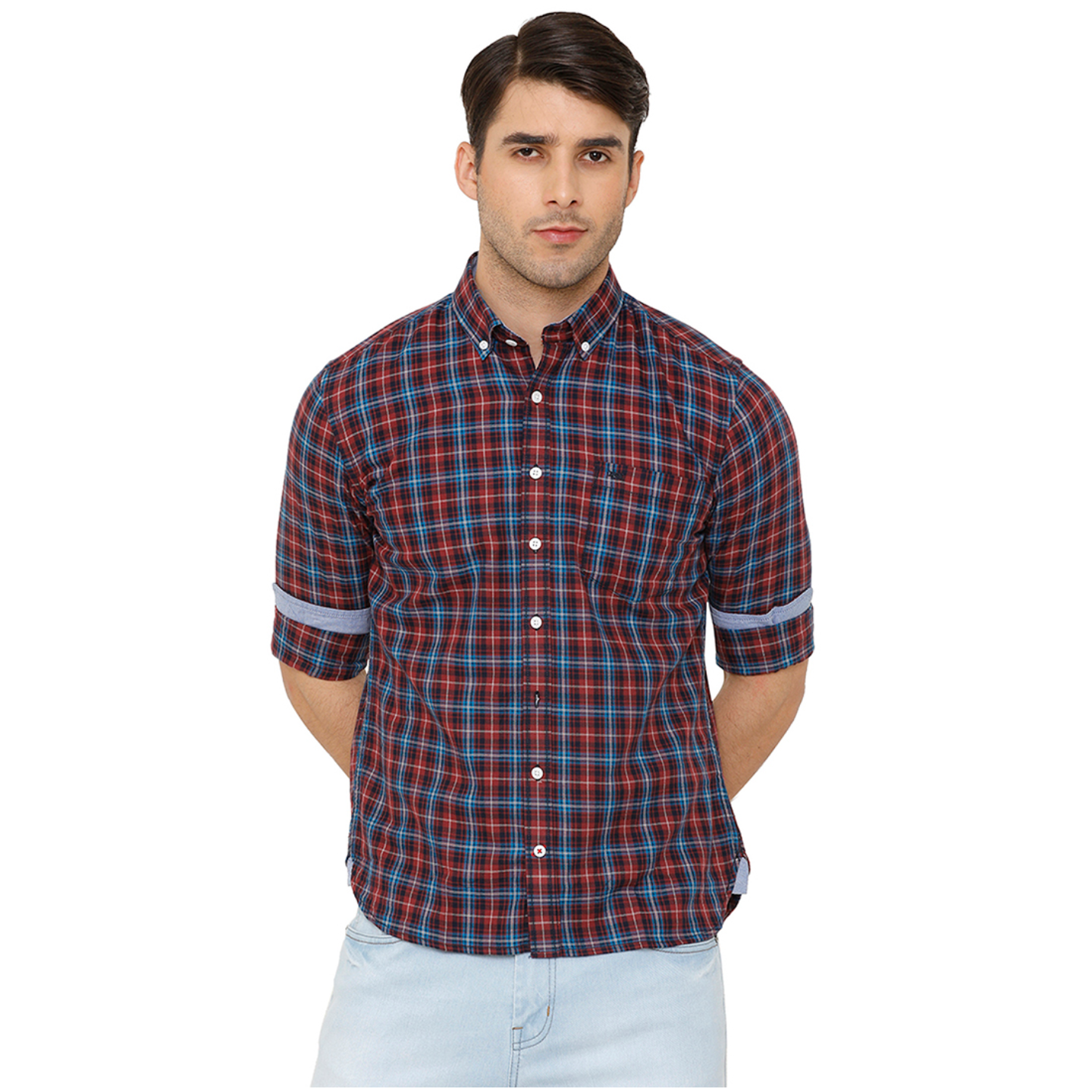 Bar Harbour Men Burgundy & Blue Slim Fit Checked Casual Shirt