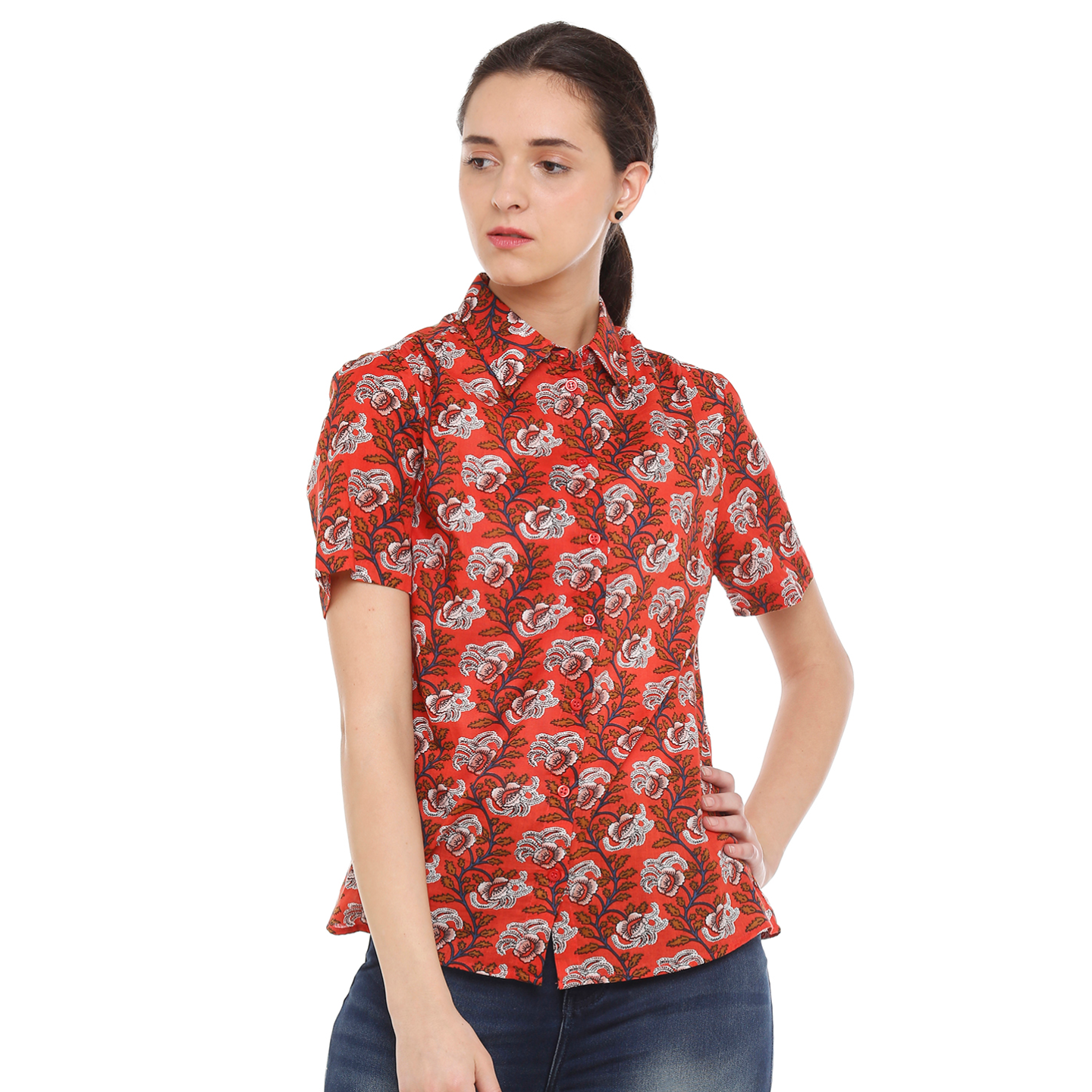 Double TWO Womens Cotton Classic Fit Red Floral Shirt