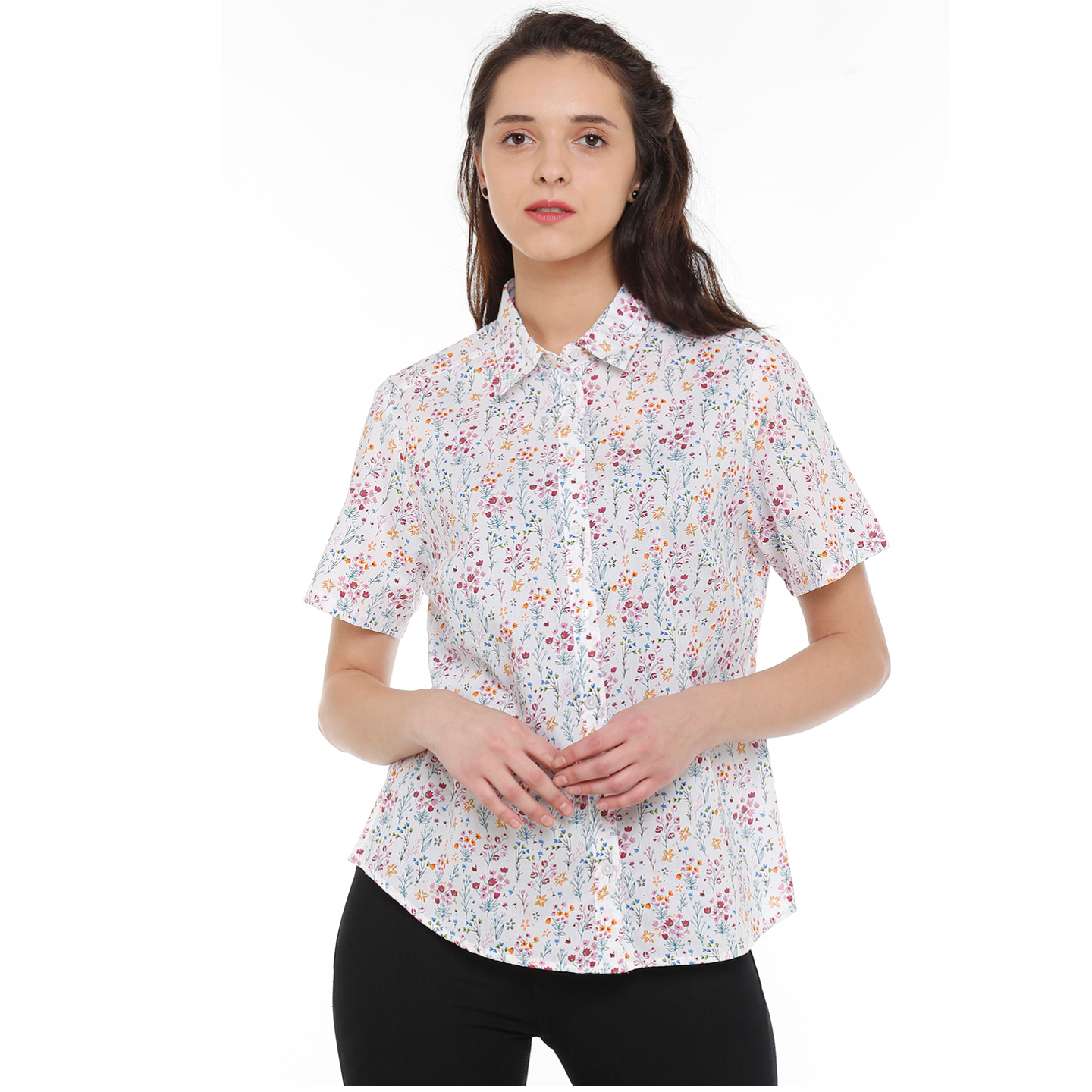 Double TWO Womens Cotton Classic Fit Floral Shirt