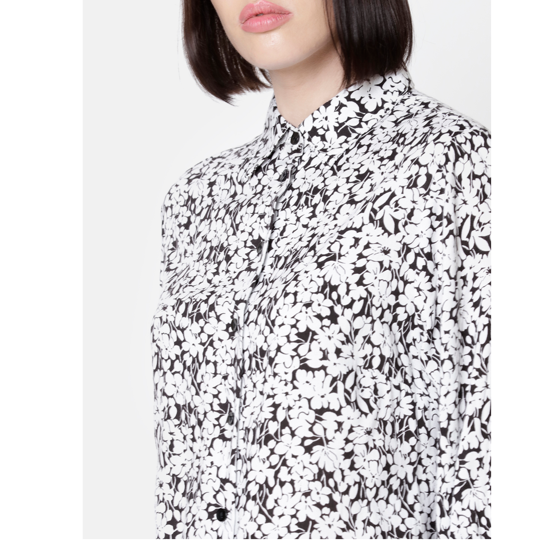 Double TWO Women Black & White Floral Print Top