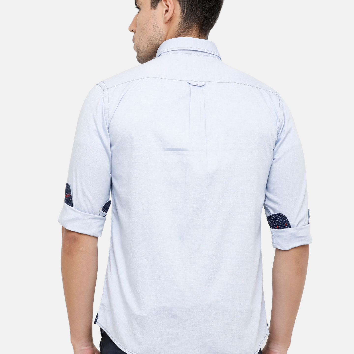 Double Two Mens Solid Blue Casual Shirt