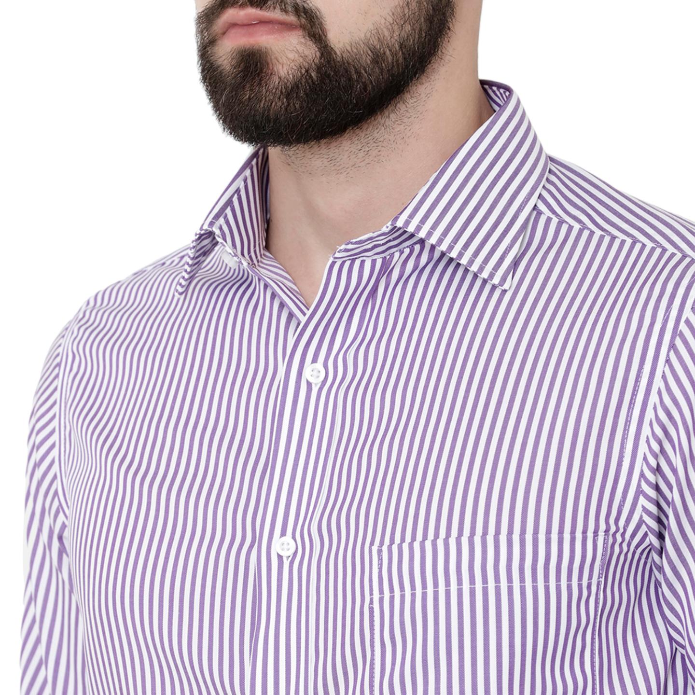 Double TWO Paradigm Men's Striped Purple Pure Cotton Non-Iron Shirt