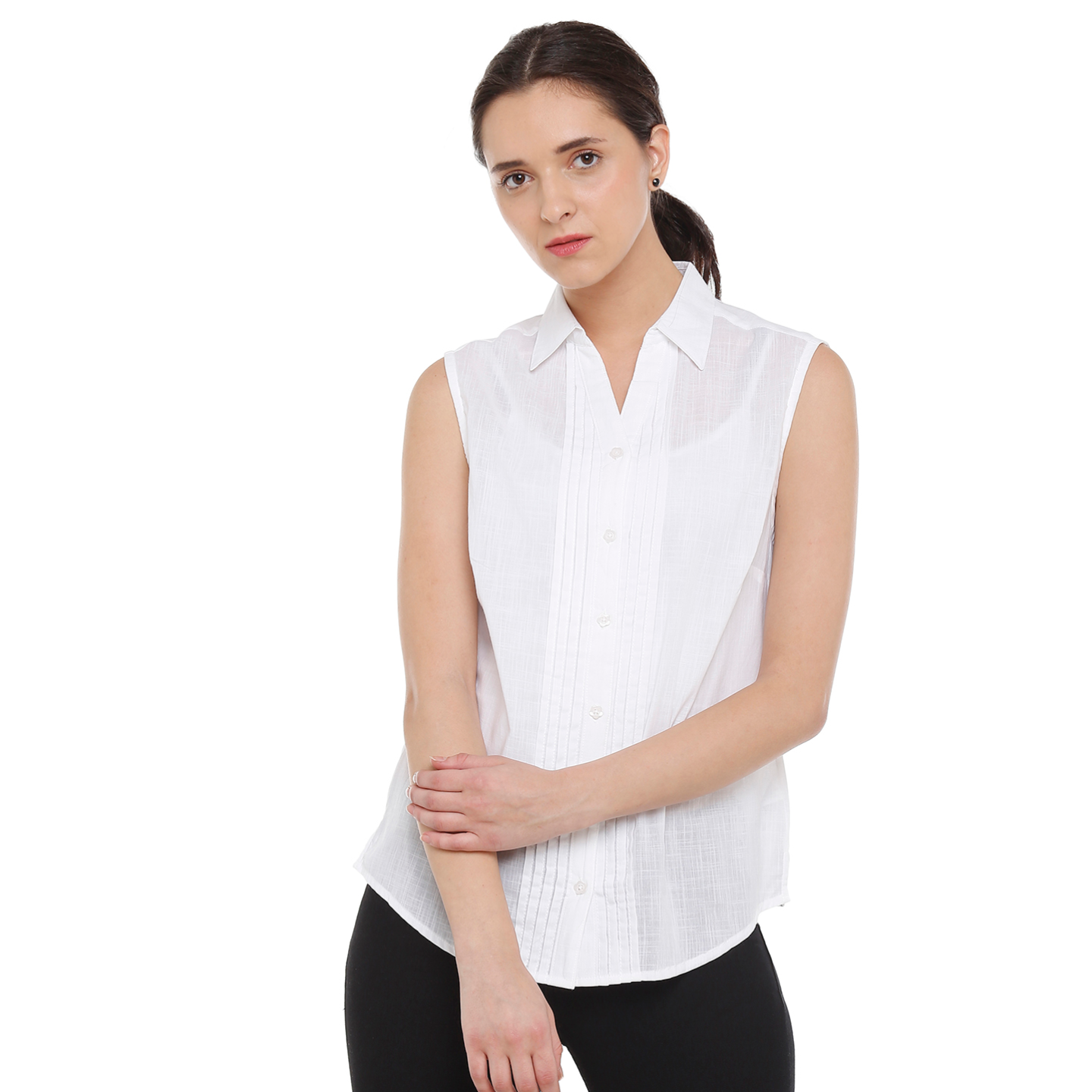 Double TWO Womens Cotton Pleated White Sleeveless Shirt