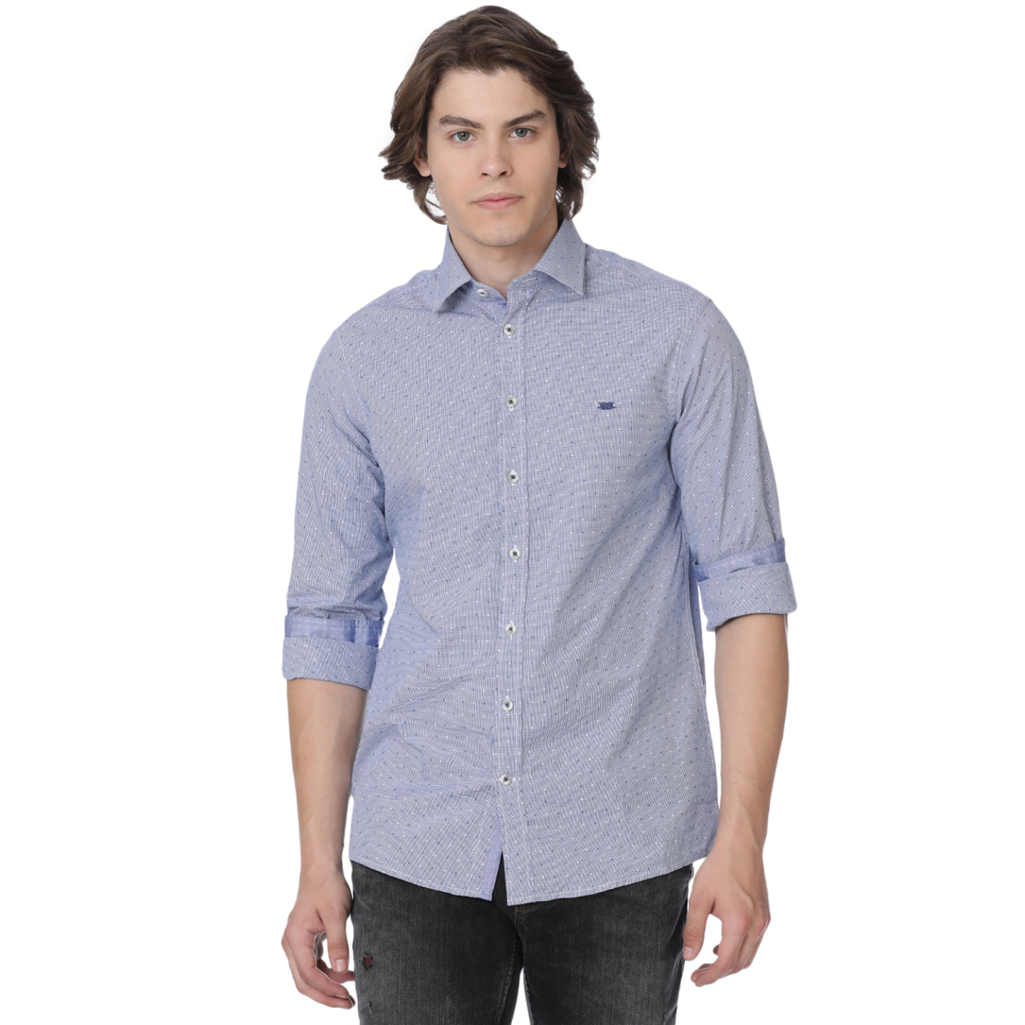 Bar Harbour Blue Gingham Dot Casual Shirt