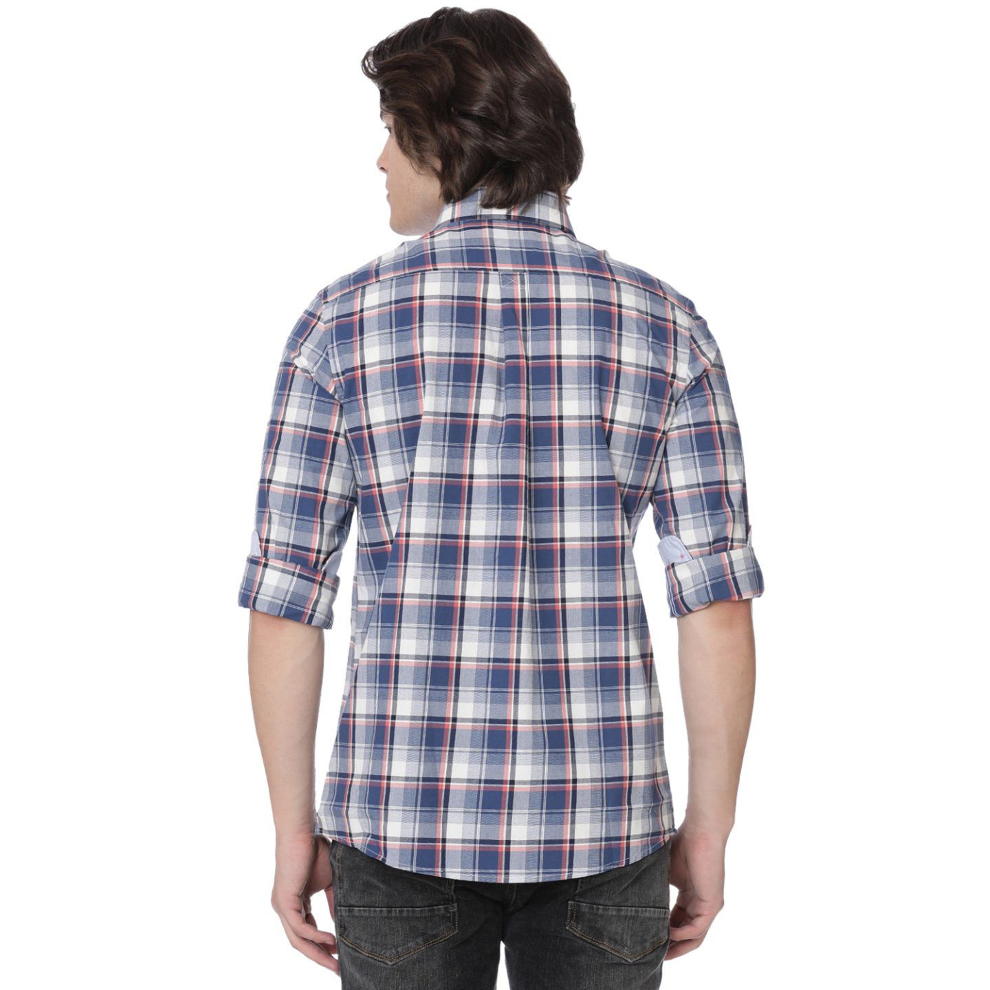 Bar Harbour Blue and Coral Wide Check Casual Shirt