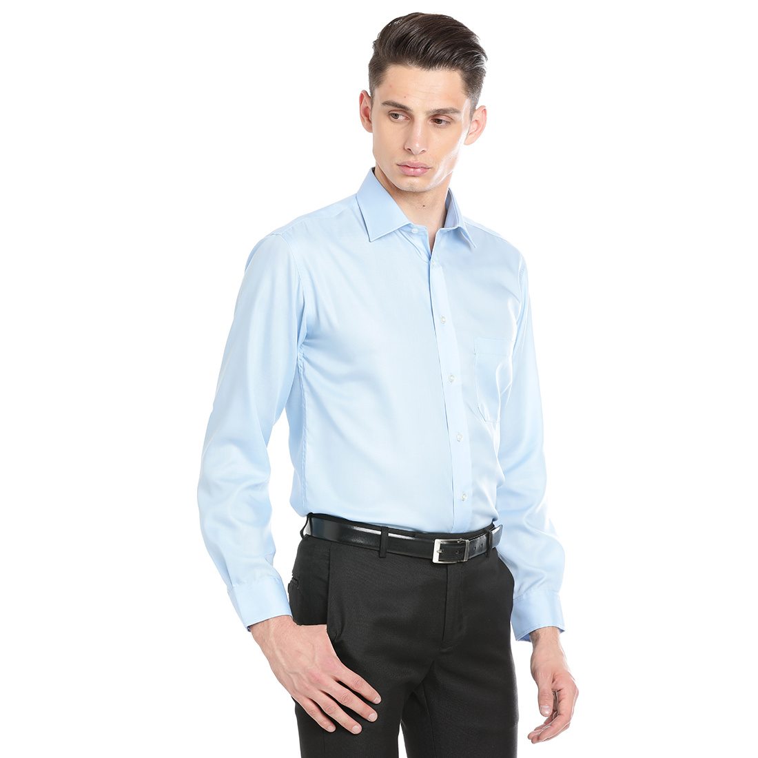 Double Two Men Formal Blue Cotton Shirt