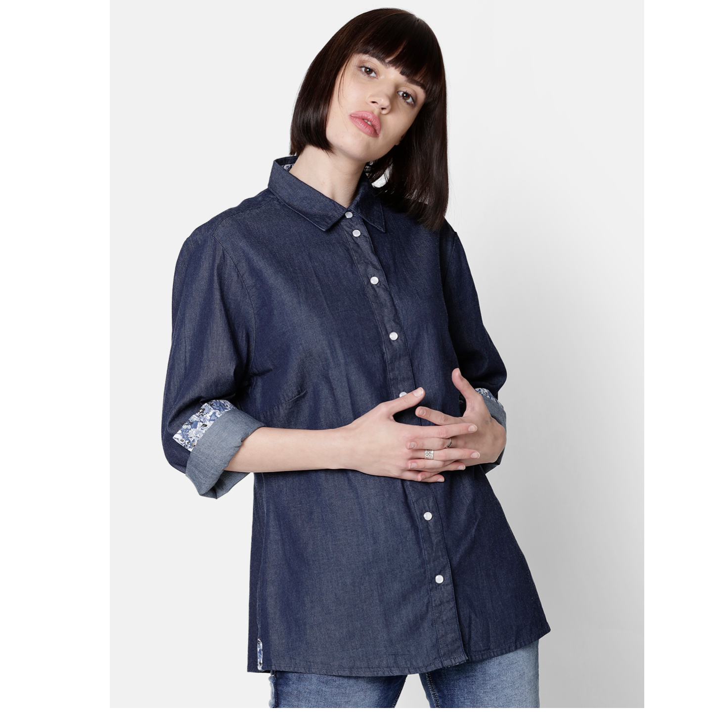 Double TWO Women Navy Solid Shirt Collar Top