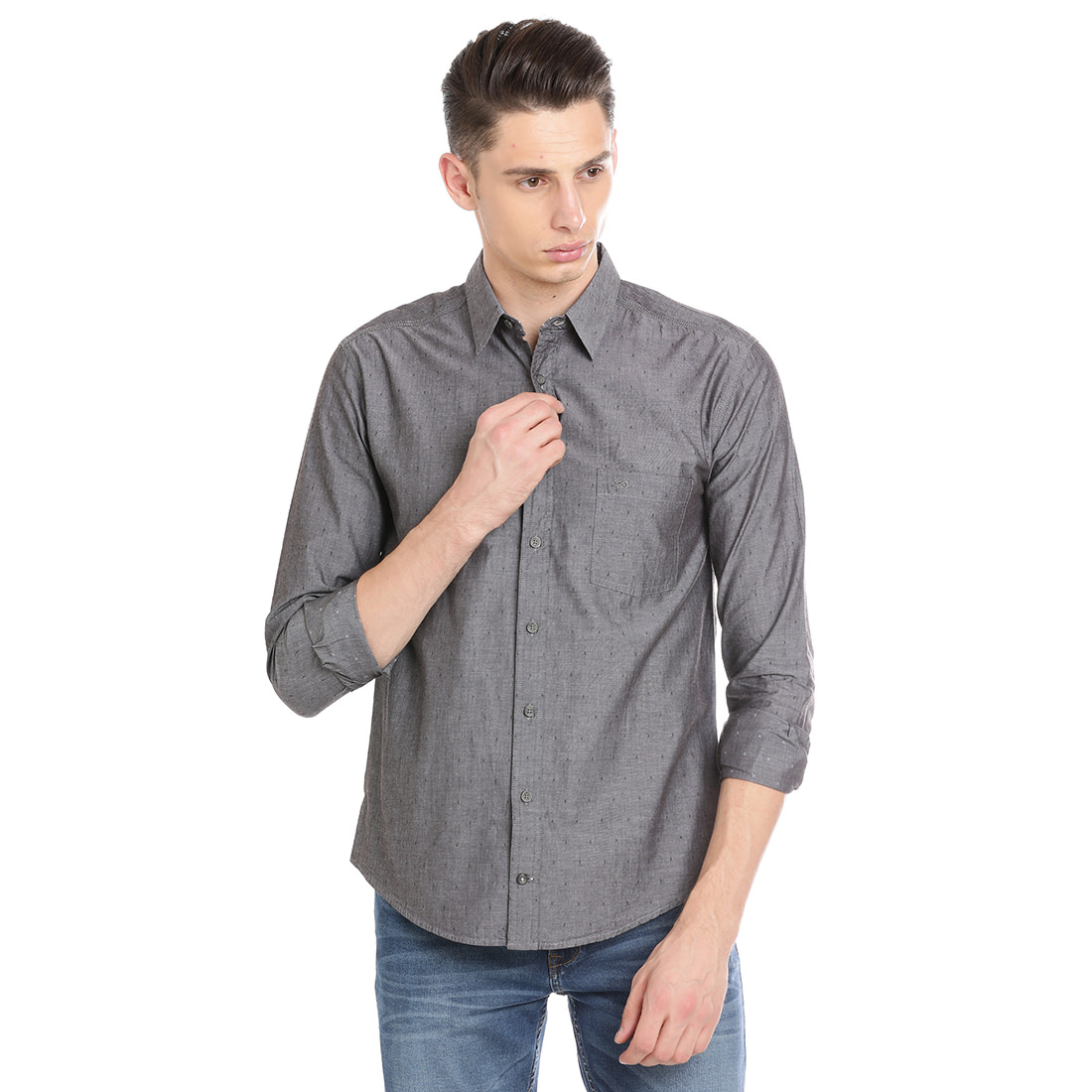 Bar Harbour  Men Solid Casual Grey Shirt