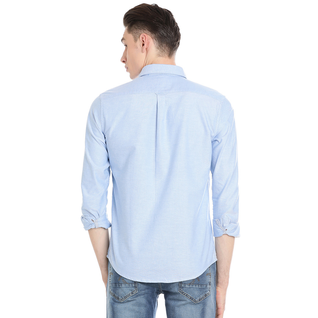 Bar Harbour  Men Solid Casual Sky Blue Shirt