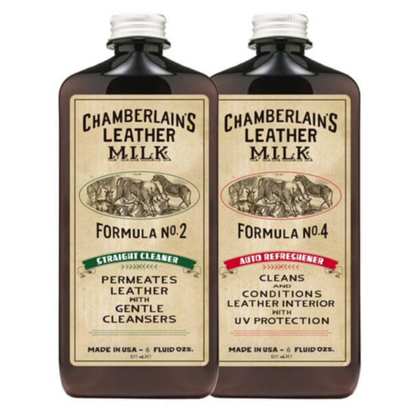 CHAMBERLAINS LEATHER MILK CLEAN & REFRESH AUTO LEATHER INTERIOR NO. 2 & NO. 4 - 6 oz