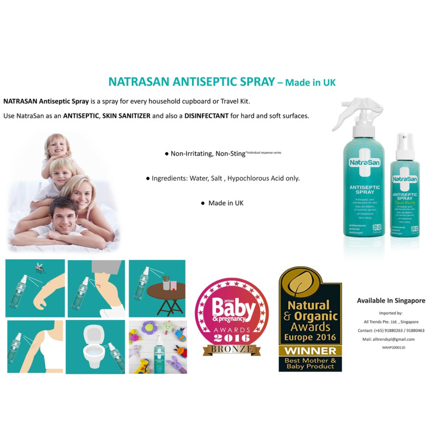 NatraSan Antiseptic Spray 250 ml - Made in UK - Antiseptic, Sanitizer, Disinfectant