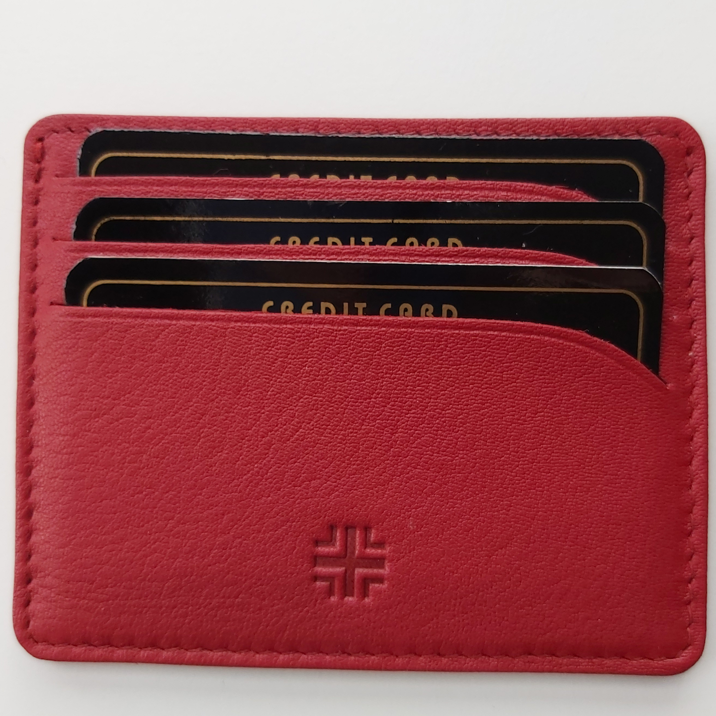 Card Holder in Leather Red