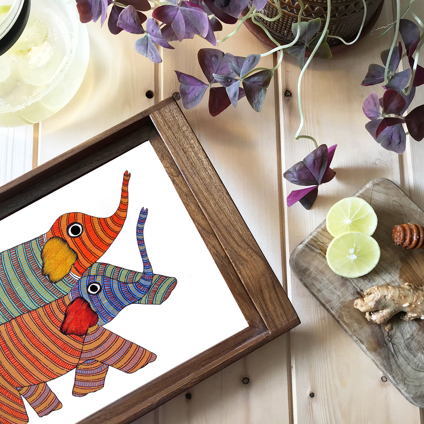 Gond Elephant - Teak wood Tray