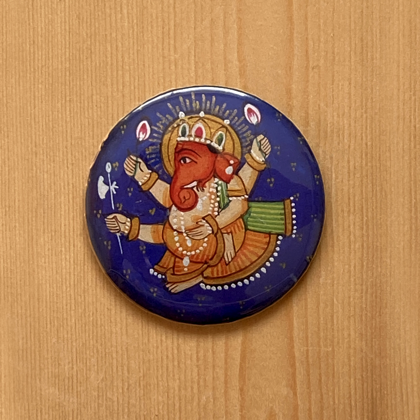 FRIDGE MAGNETS ROUND - Rajasthani Miniature Ganesha Blue