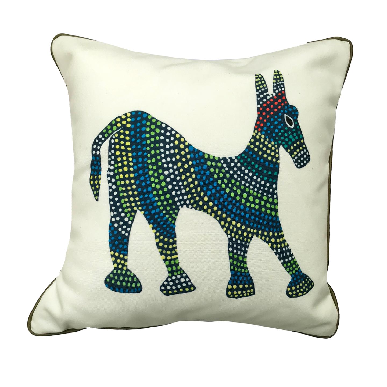 Art Cushion Cover 12 x 12 - Bhil Horse Blue