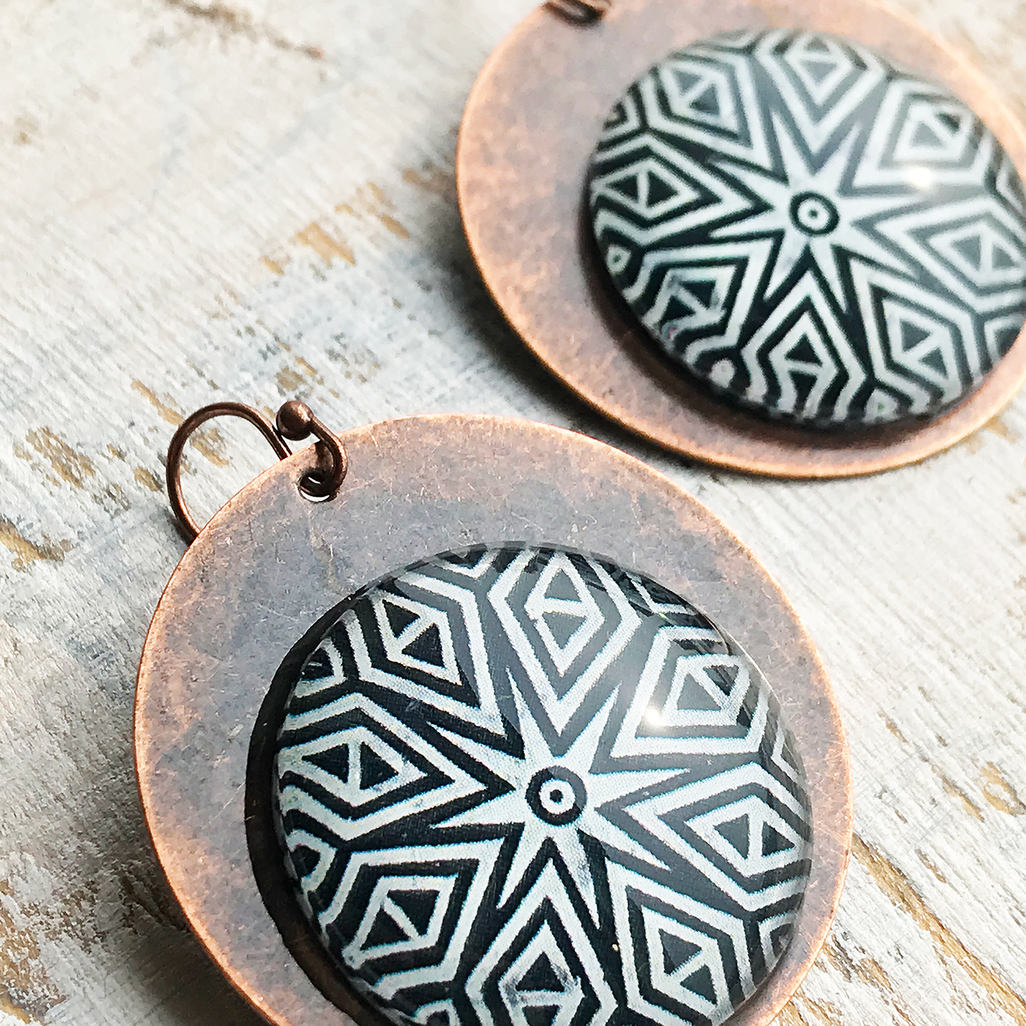 Earrings - Hand carved block on Copper
