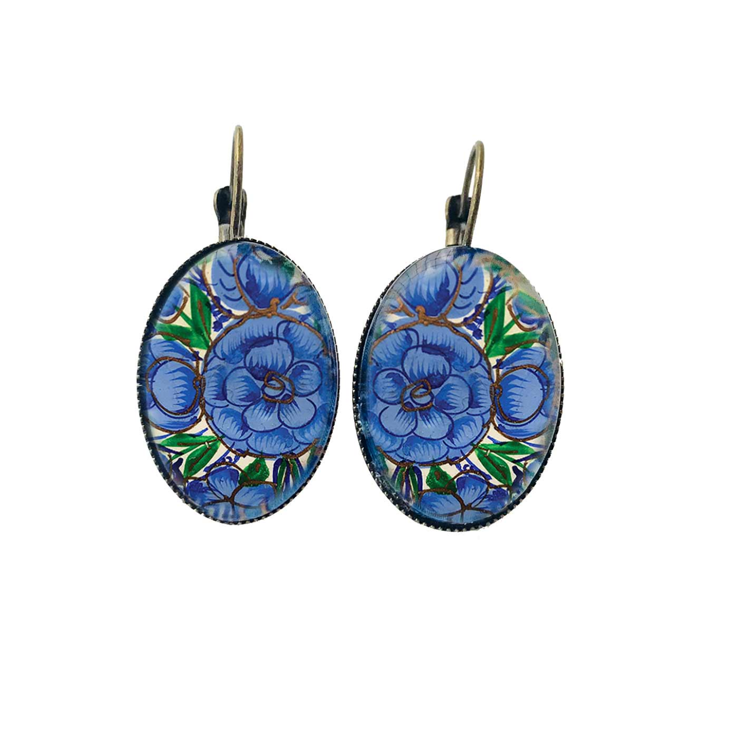 Naqashi, Kashmir  Oval, Lever back earrings - Gul Andar Gul