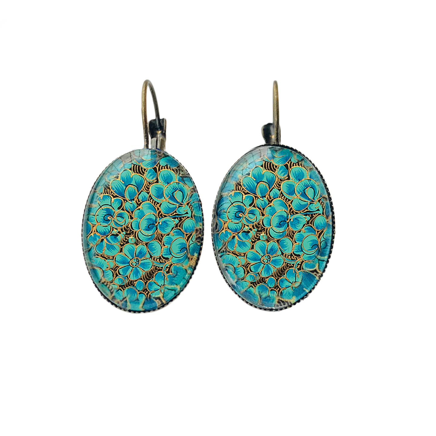 Oval Lever back earrings - Naqashi, Kashmir