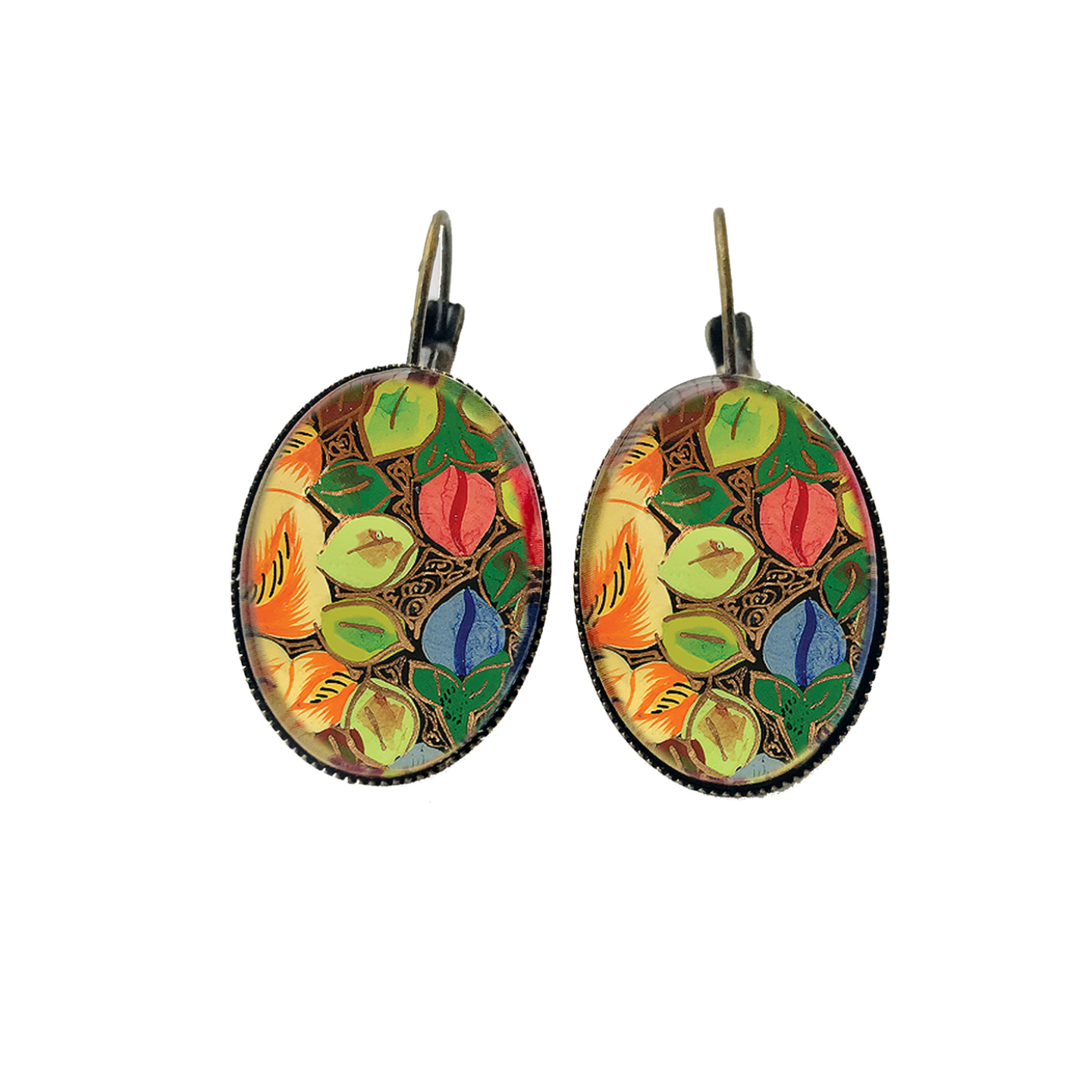 Naqashi, Kashmir  Oval, Lever back earrings - Hazara