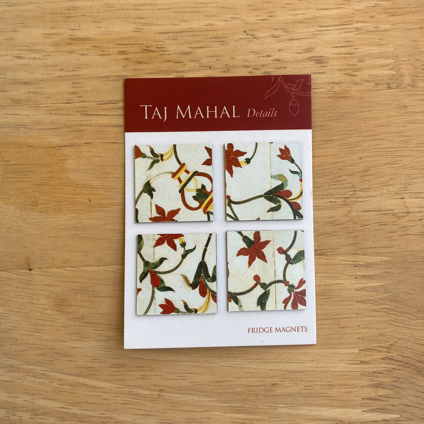 FRIDGE MAGNETS Set of 4 - Taj Mahal, inlay details