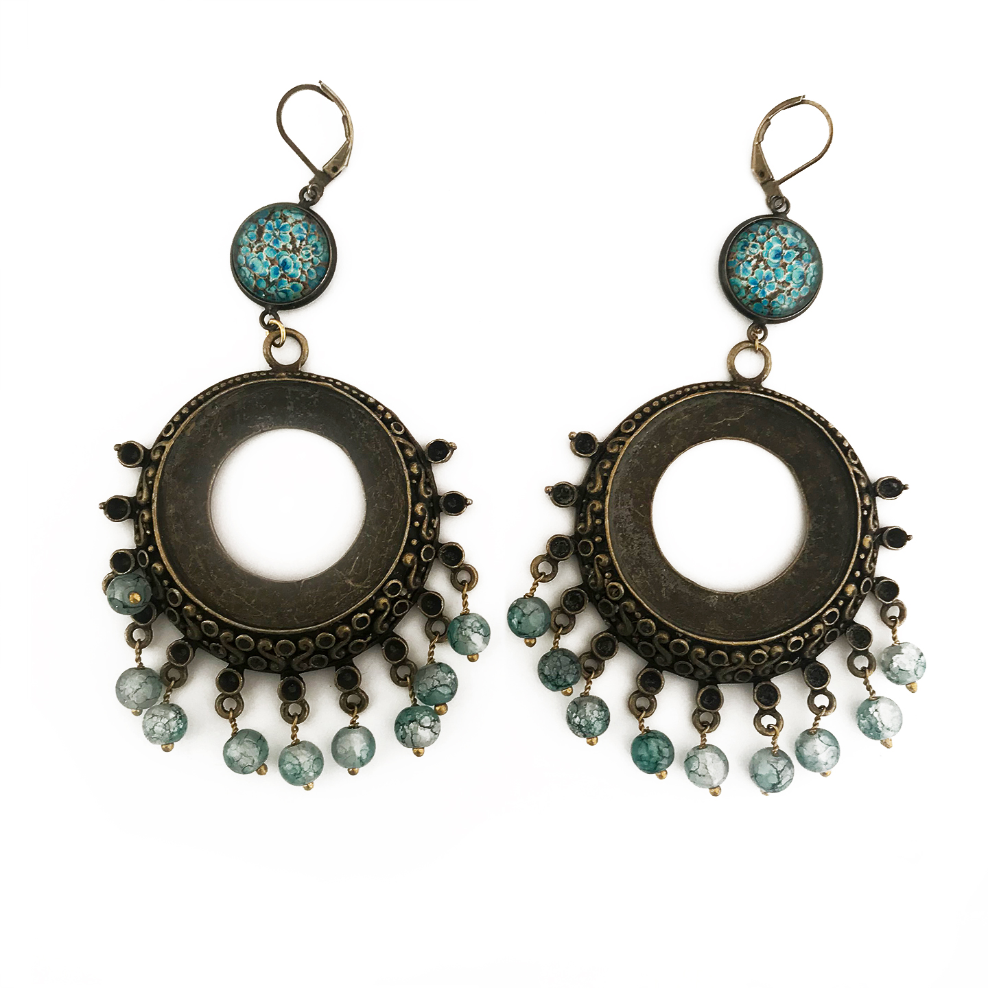 Earrings with hand painted beads - Naqashi