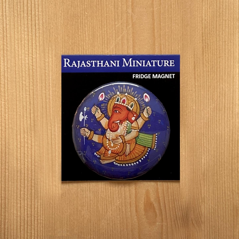 FRIDGE MAGNETS ROUND - Rajasthani Miniature Ganesha Blue