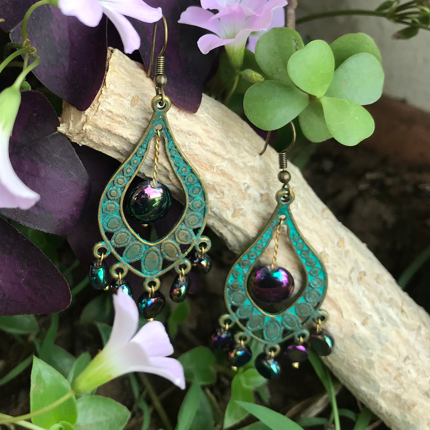 Earrings - Peacock with glass beads