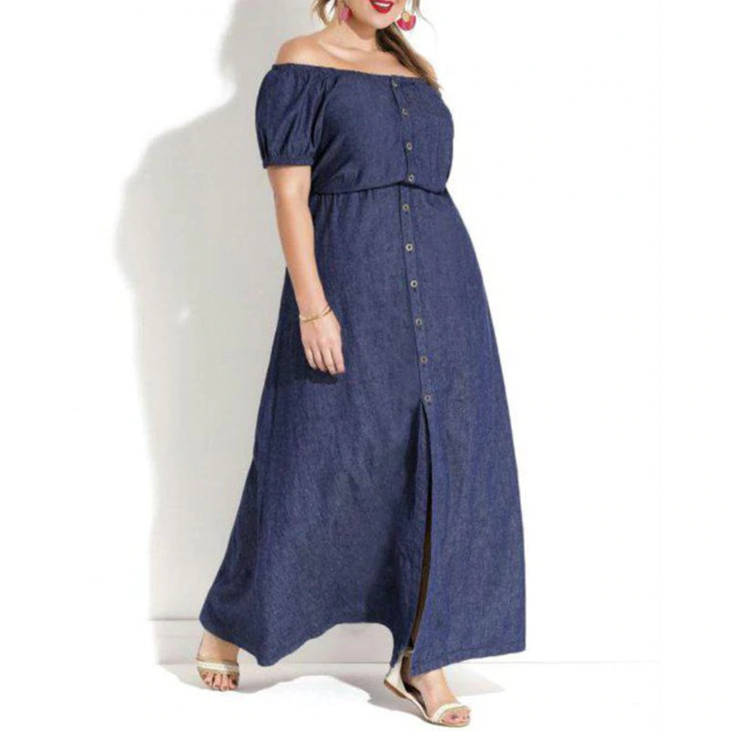 Denim Plus Size Off Shoulder Maxi Dress