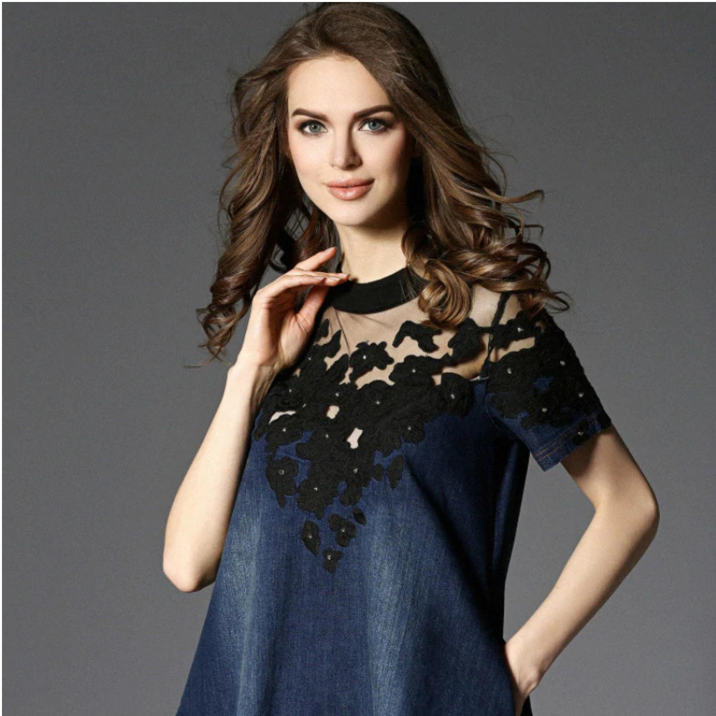 Denim Lace Work Dress