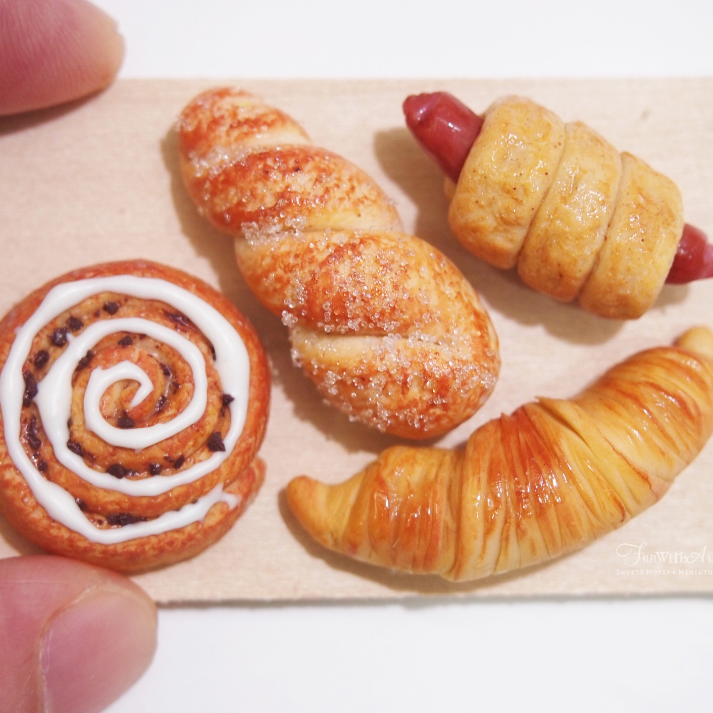 Miniature Bread on wooden Board