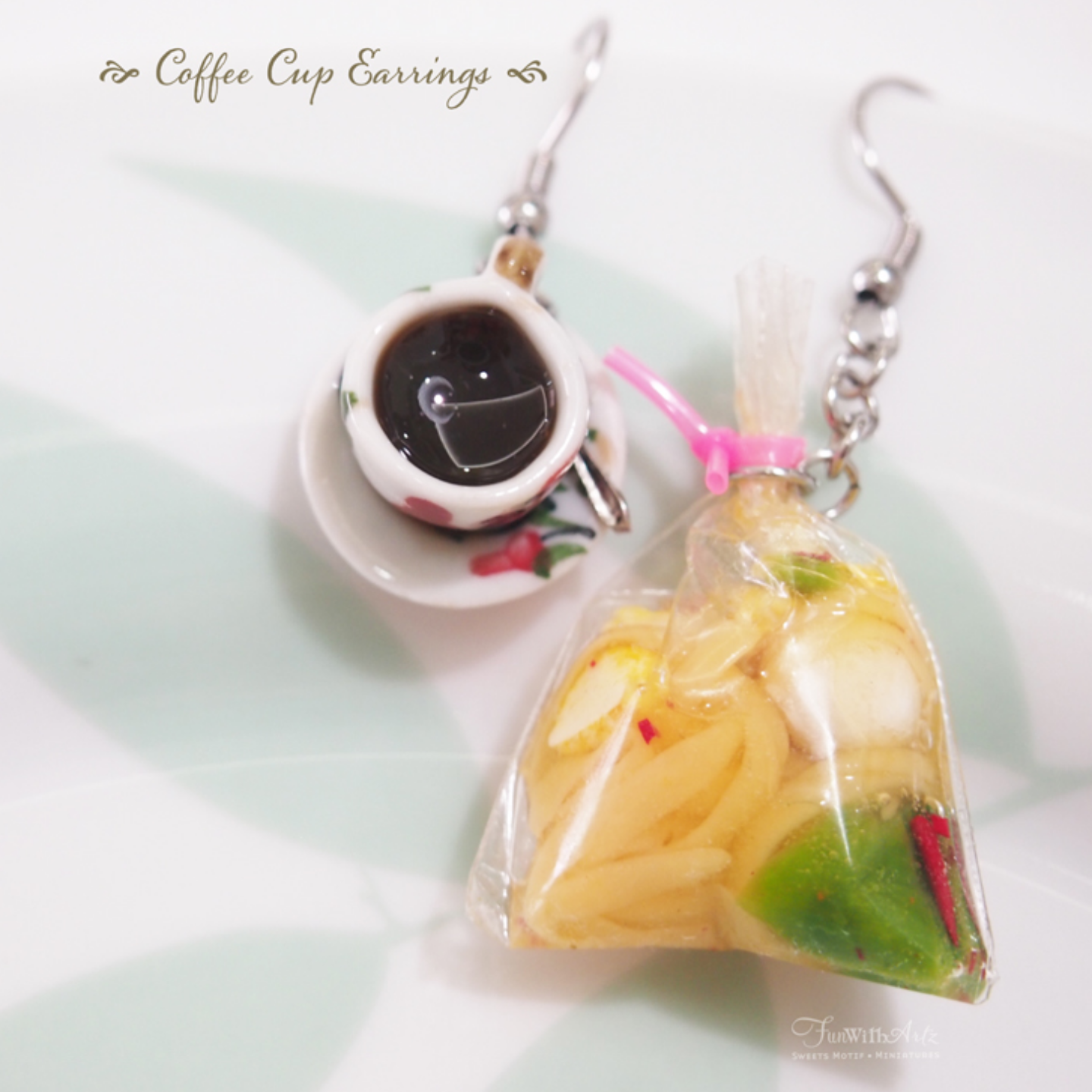 Miniature Food-food jewelry-clay food-Kopi Earrings