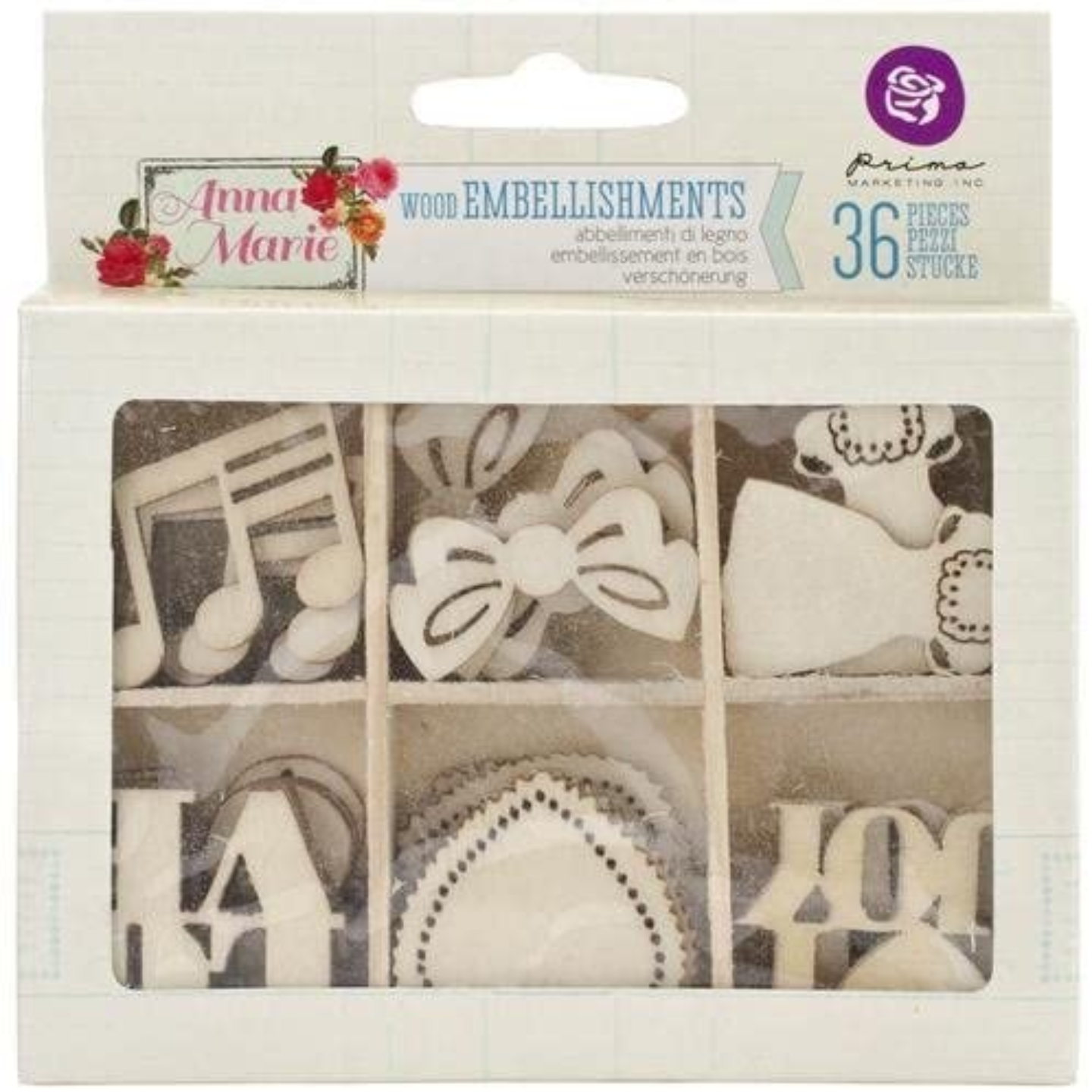 Prima Marketing Anna Marie Love Wood Veneer Icons in a Box-Scrapbooking