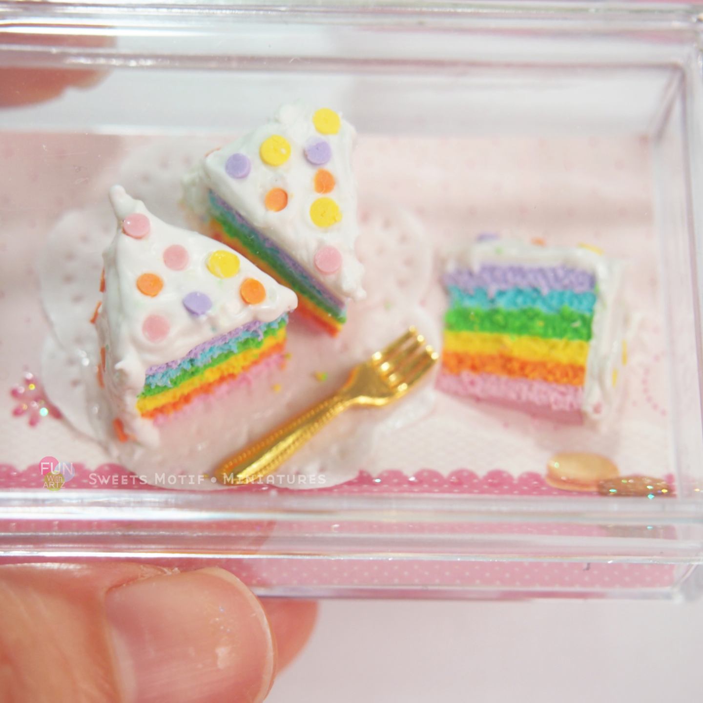 Dollhouse Miniature Polymer clay Rainbow Cake